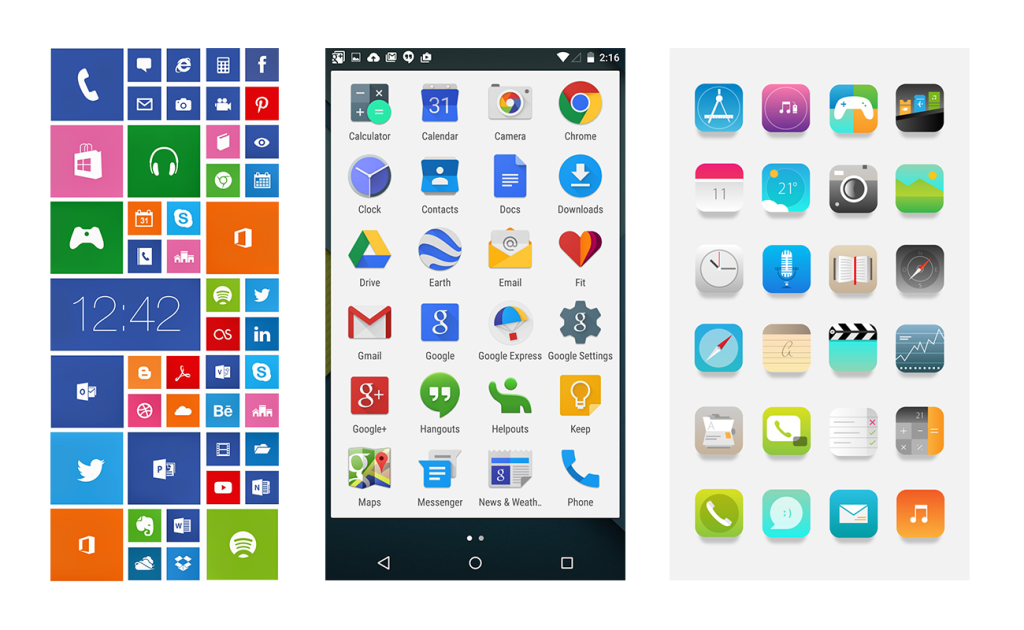 微软、Google、苹果的图标风格